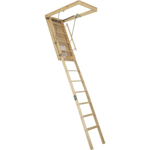 Louisville Premium 8 In. 9 Ft. to 10 Ft. 22-1/2 In. x 54 In. Wood Attic Stairs, 250 Lb. Load