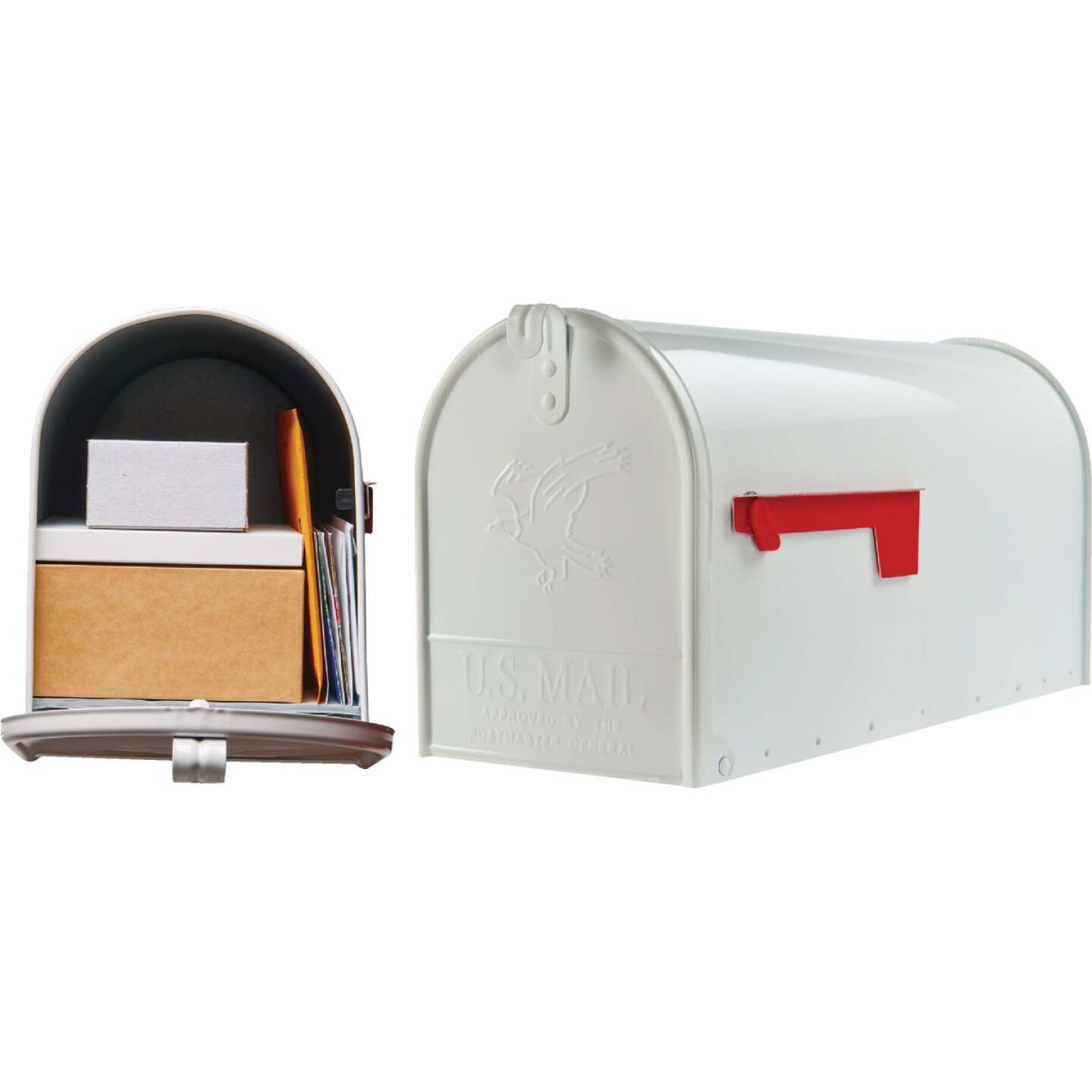 Gibraltar Elite T2 Large White Steel Rural Post Mount Mailbox Image 1