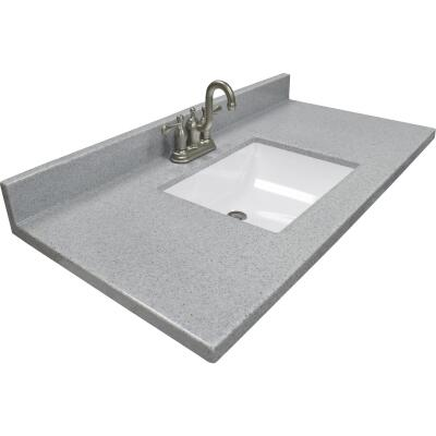 Modular Vanity Tops 37 In. W x 22 In. D Pewter Cultured Marble Vanity Top with Rectangular Wave Bowl