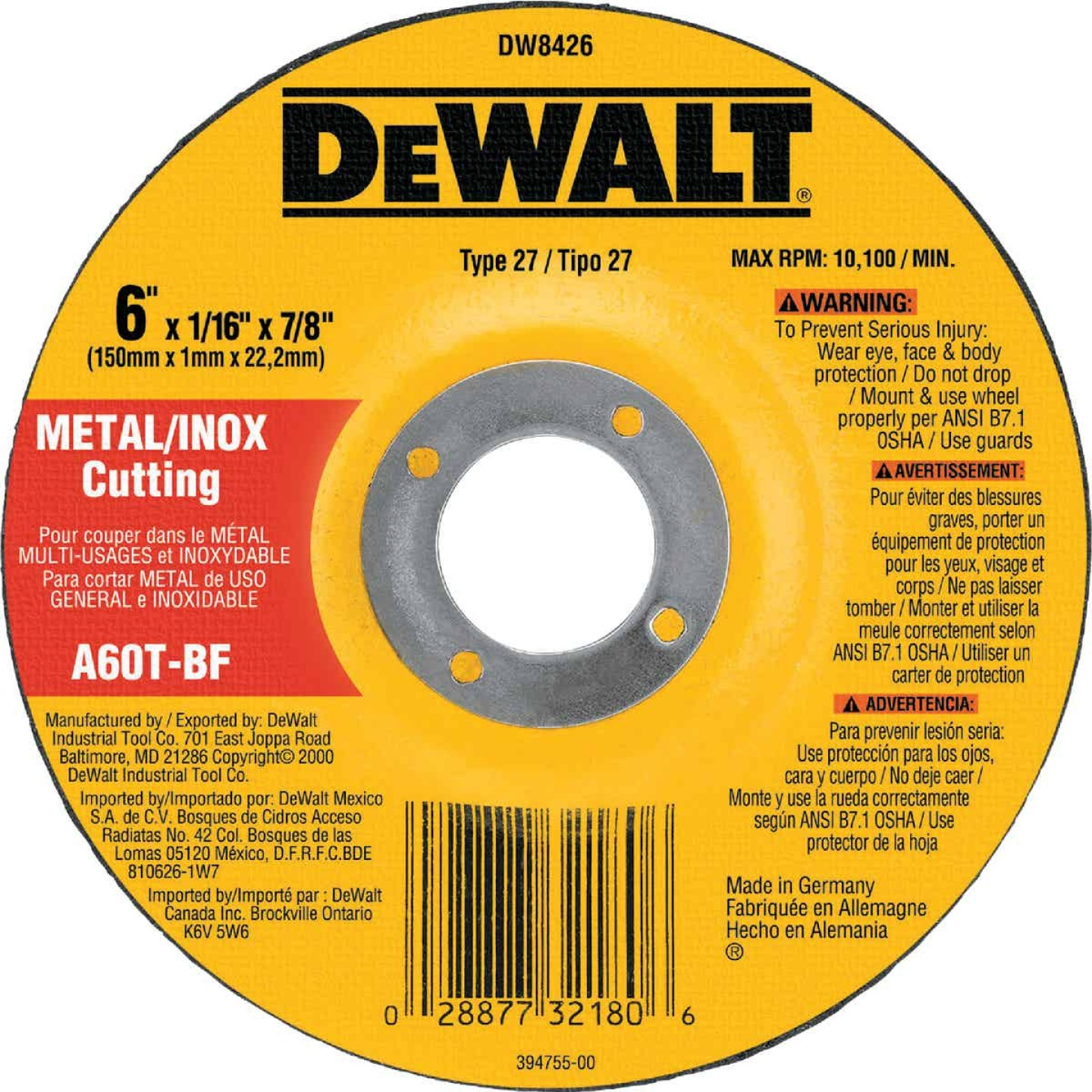 DeWalt HP Type 27 6 In.x  0.045 In. x 7/8 In. Metal/Stainless Cut-Off Wheel Image 1