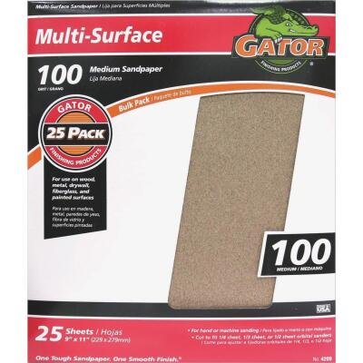 Gator Multi-Surface 9 In. x 11 In. 100 Grit Medium Sandpaper (25-Pack)