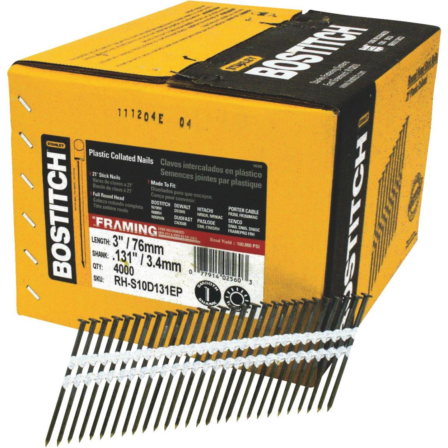 Bostitch 21 Degree Plastic Strip Coated Full Round Head Framing Stick Nails, 3 In. x .131 In. (4000 Ct.) Image 1