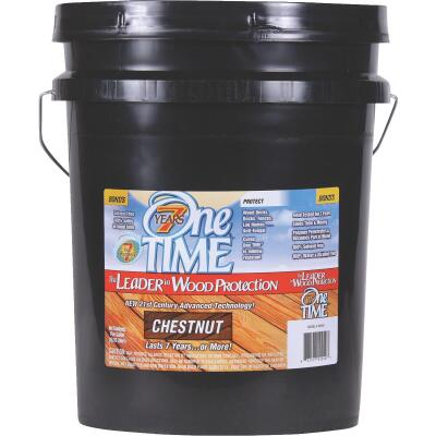 One TIME Chestnut Wood Preservative, Protector & Stain All In One, 5 Gal.