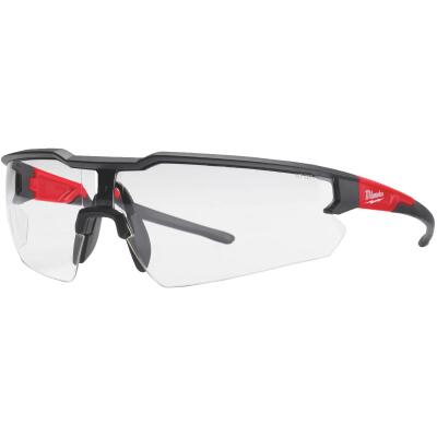 Milwaukee Red & Black Frame Safety Glasses with Clear Lenses